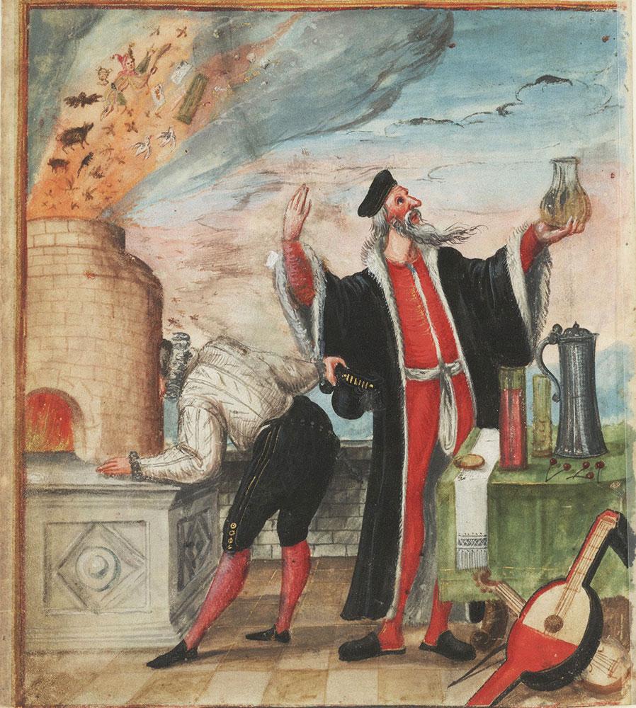 Miniature of the alchemist's thieving apprentice