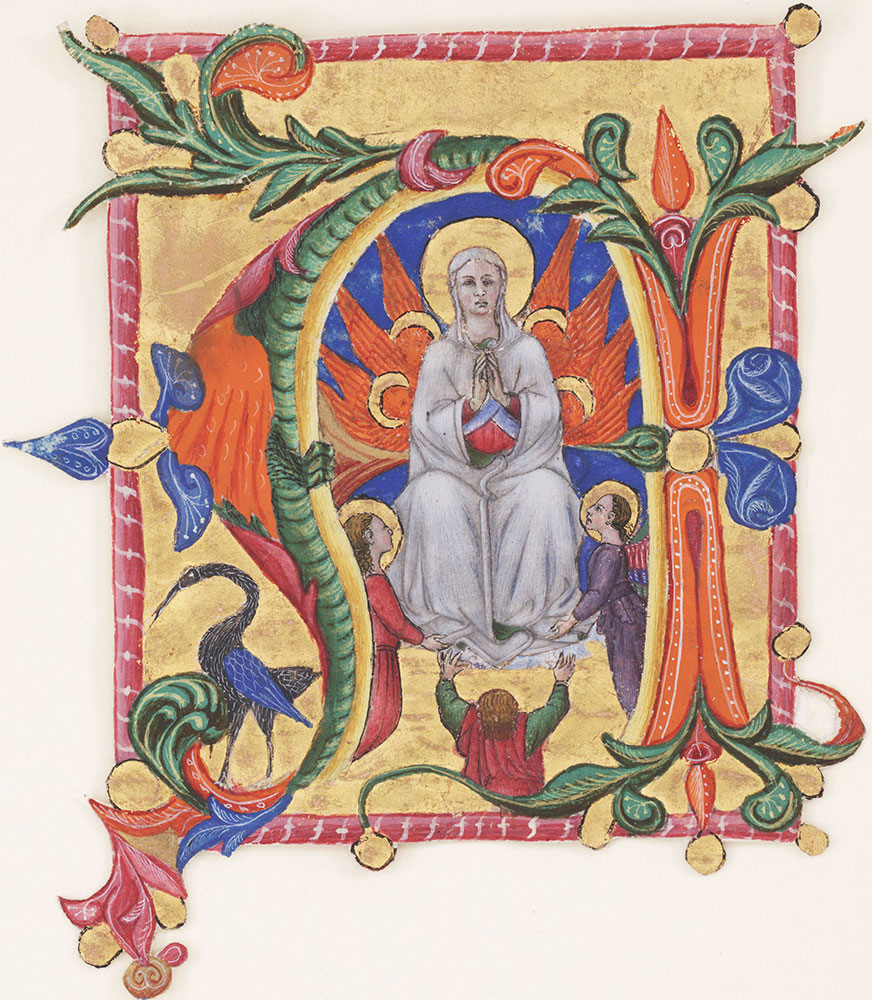 Historiated initial N depicting the Virgin enthroned