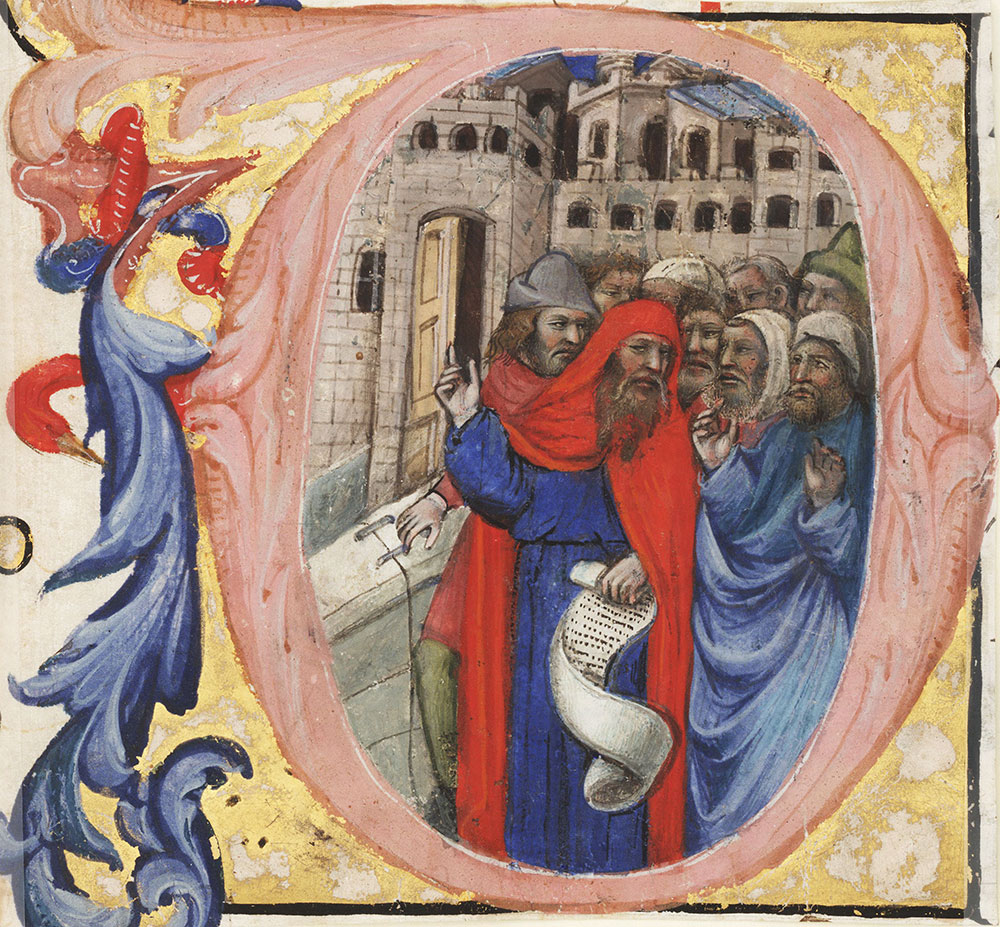 Historiated initial O from an antiphonal depicting a prophet (Ezekiel ?)