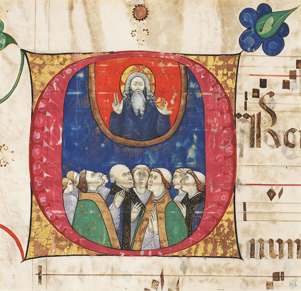 Historiated initial O from an antiphonary depicting clergy communing with God