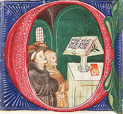 Cutting from a breviary: Initial C with a choir of Franciscan monks