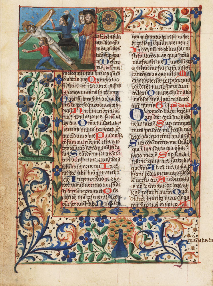 Cutting from a breviary with a miniature depicting the Raising of the Cross