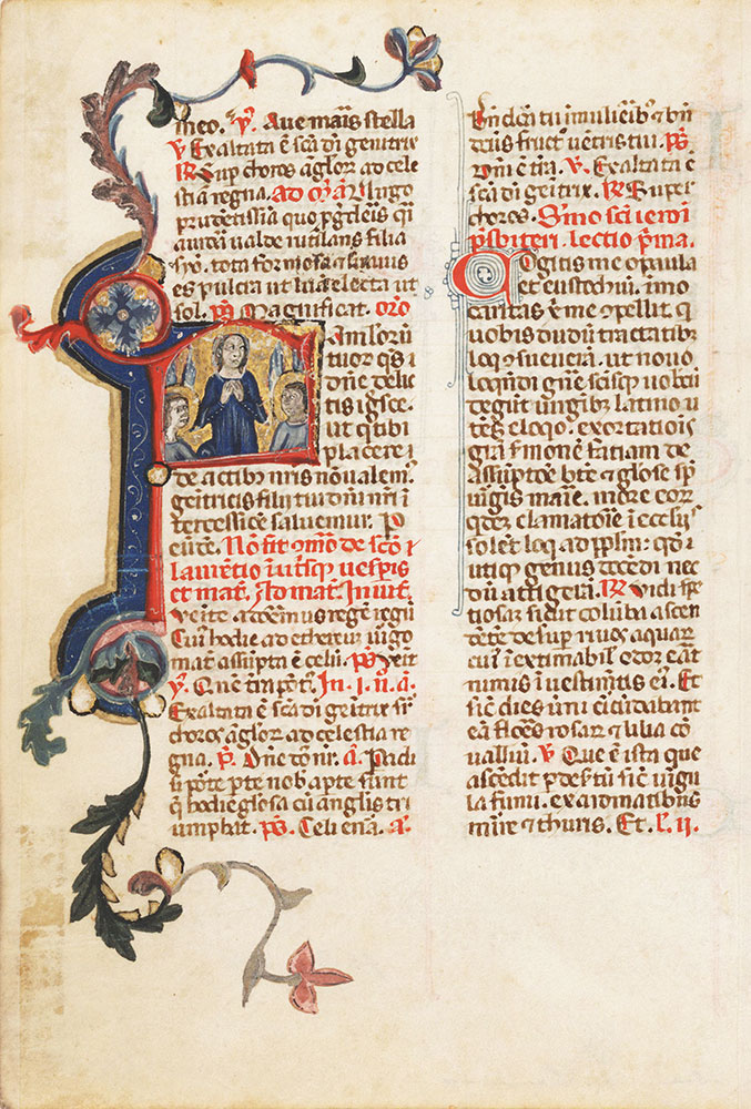 Leaf from a breviary with an initial F depicting the Assumption of the Virgin