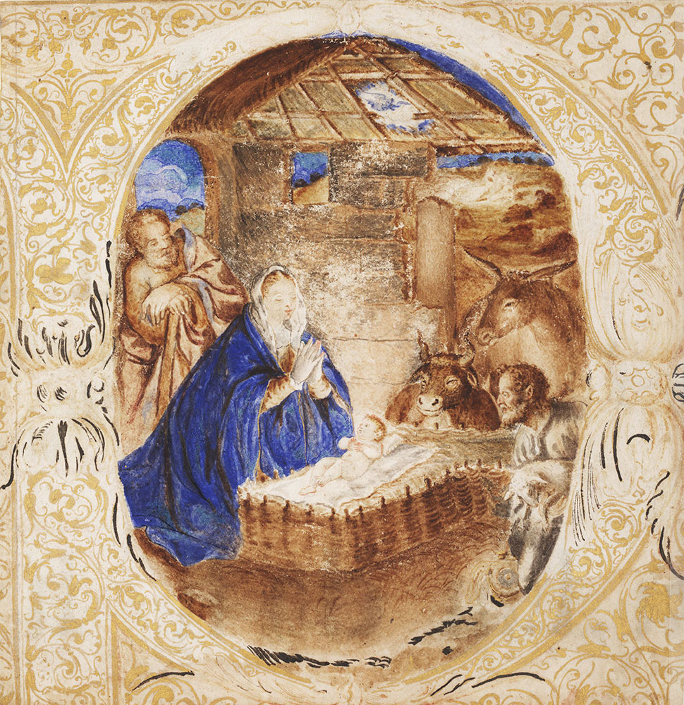 Historiated initial P from an antiphonary, depicting the Nativity