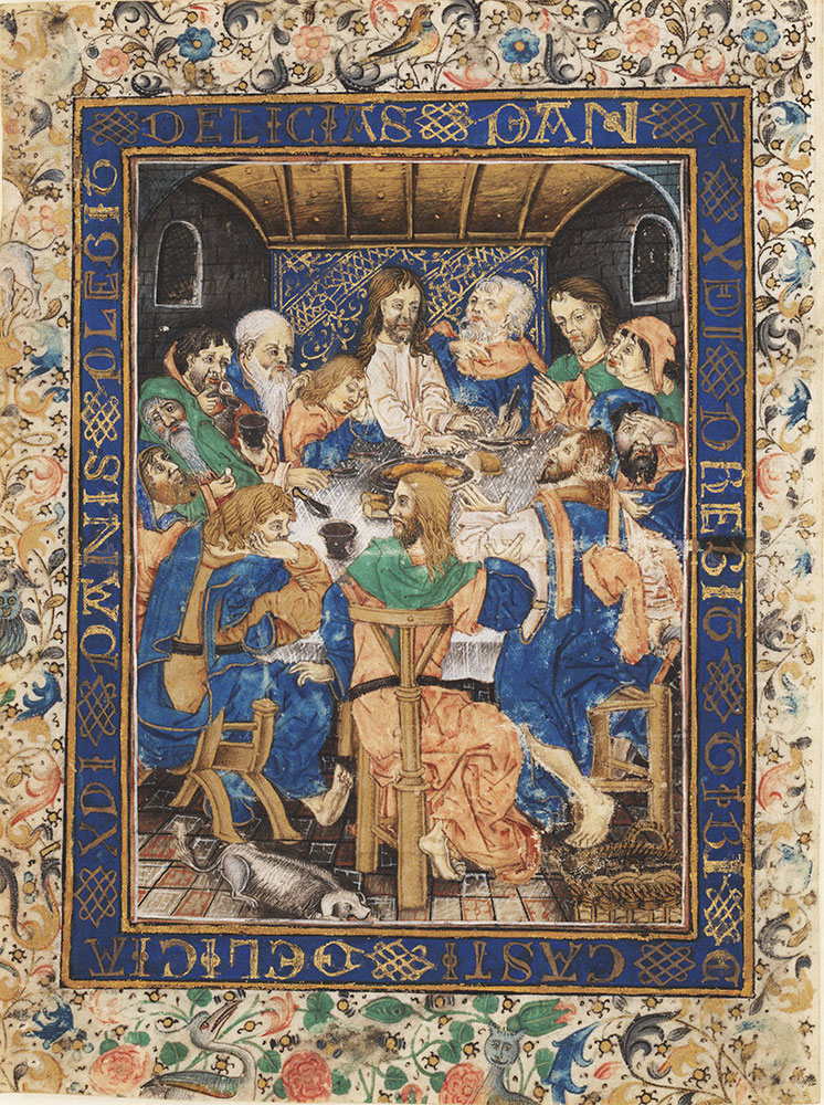 Leaf from a Book of Hours depicting the Last Supper