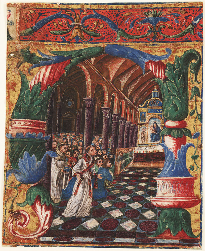 Historiated initial A from an antiphonary depicting the Invocation of the Virgin Mary
