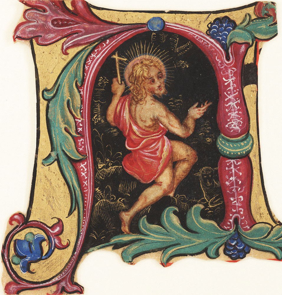 Historiated initial N from an antiphonary, depicting St. John the Baptist