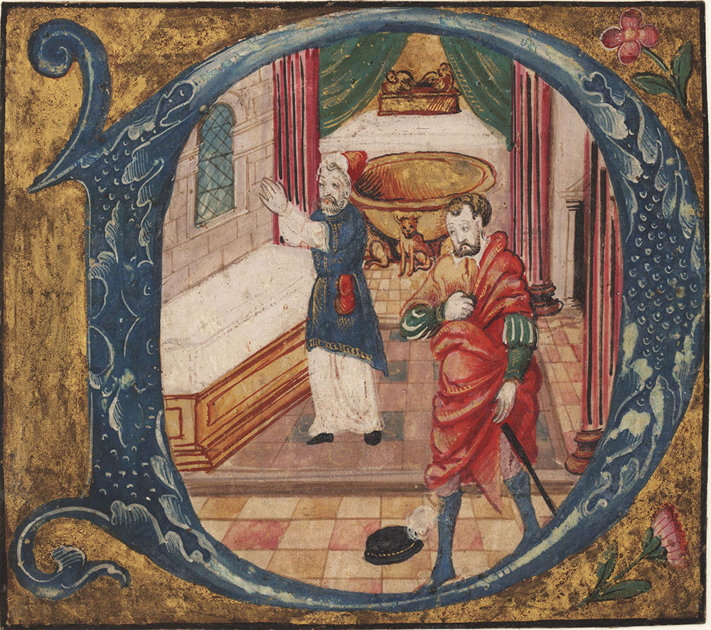 Initial D from an antiphonary depicting a penitent gentleman taking a vow at an altar