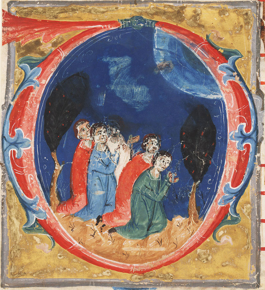 Historiated initial D
