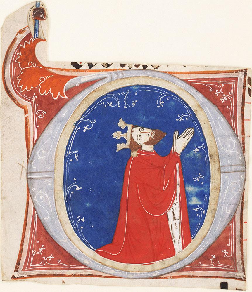 Historiated initial O depicting David in Prayer