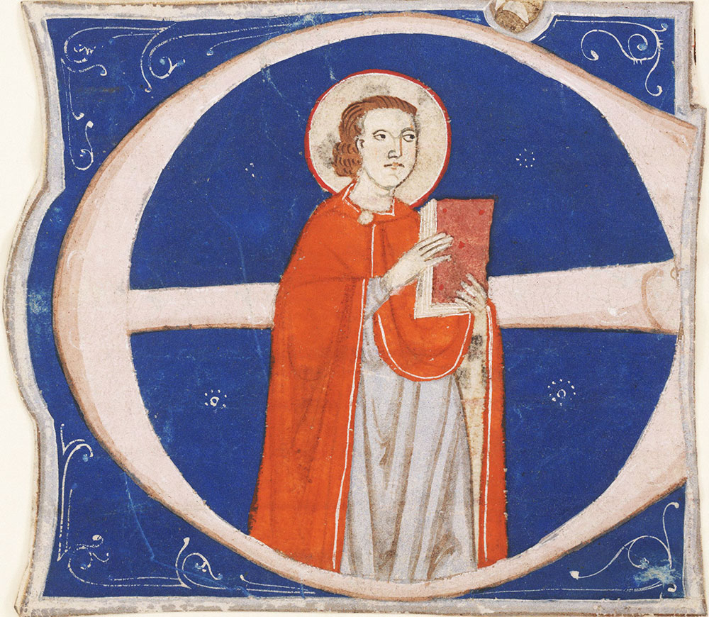 Historiated initial E depicting a male saint