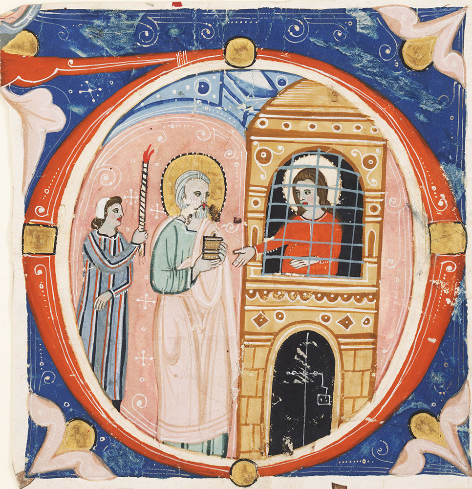 Historiated initial D depicting St. Barbara
