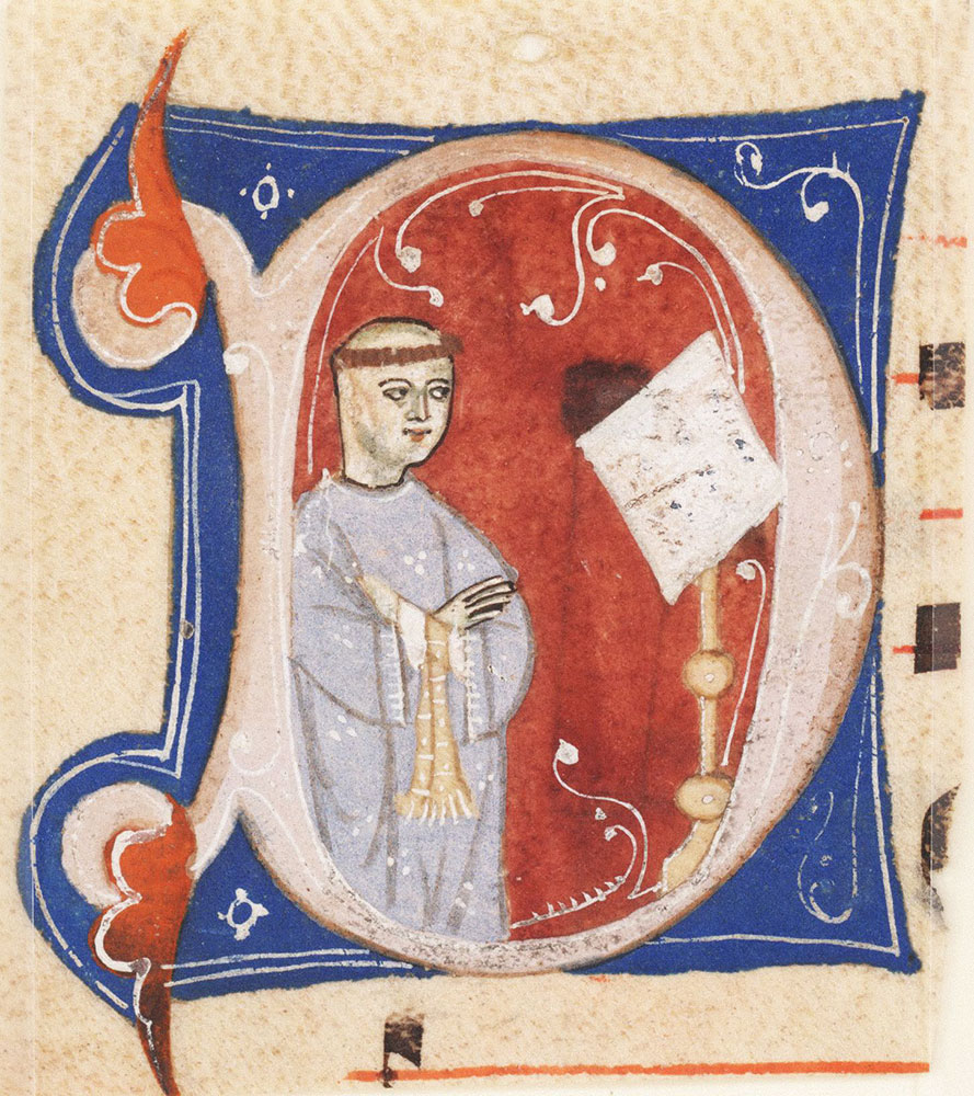 Historiated initial D depicting a monk