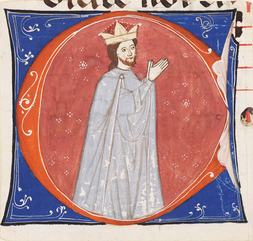 Historiated initial C depicting a bishop