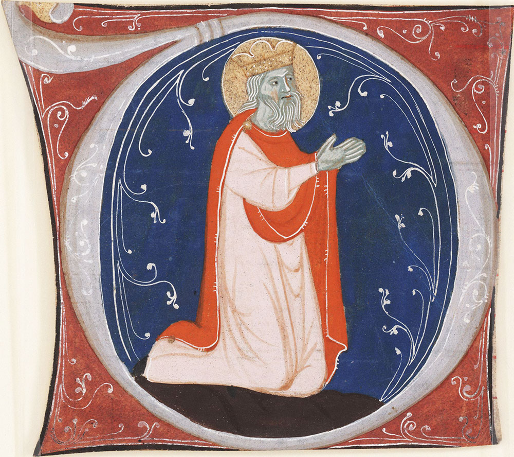 Historiated initial D depicting a male saint