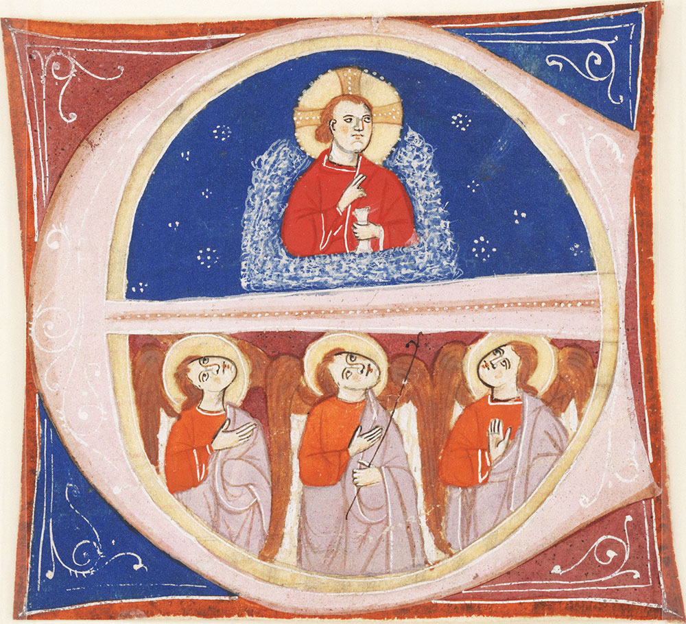 Historiated initial E depicting Christ and three angels