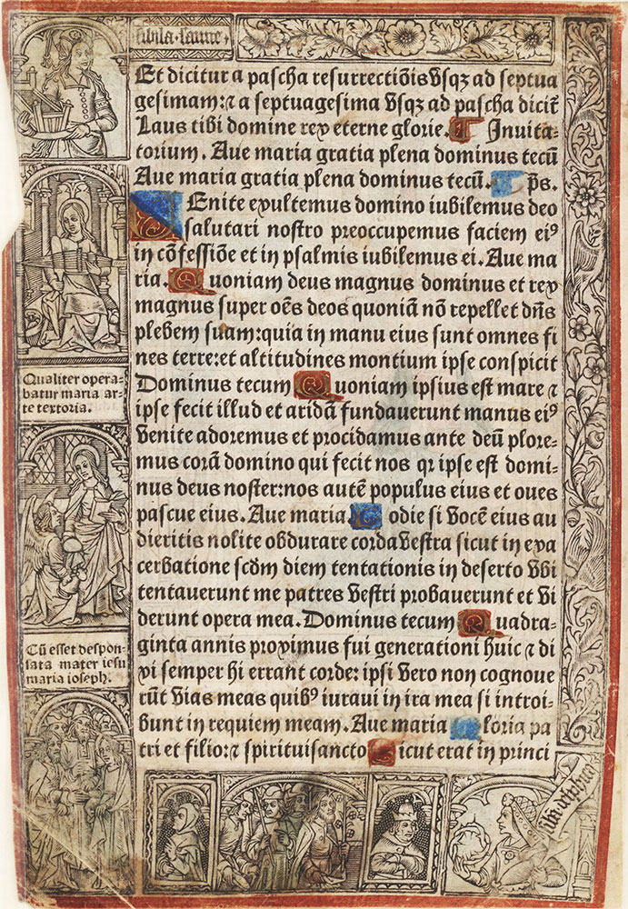 Leaf from a printed Book of Hours depicting the Annunciation