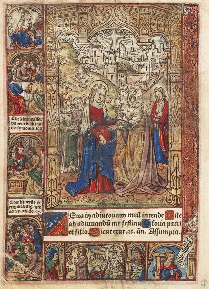 Leaf from a printed Book of Hours depicting the Visitation