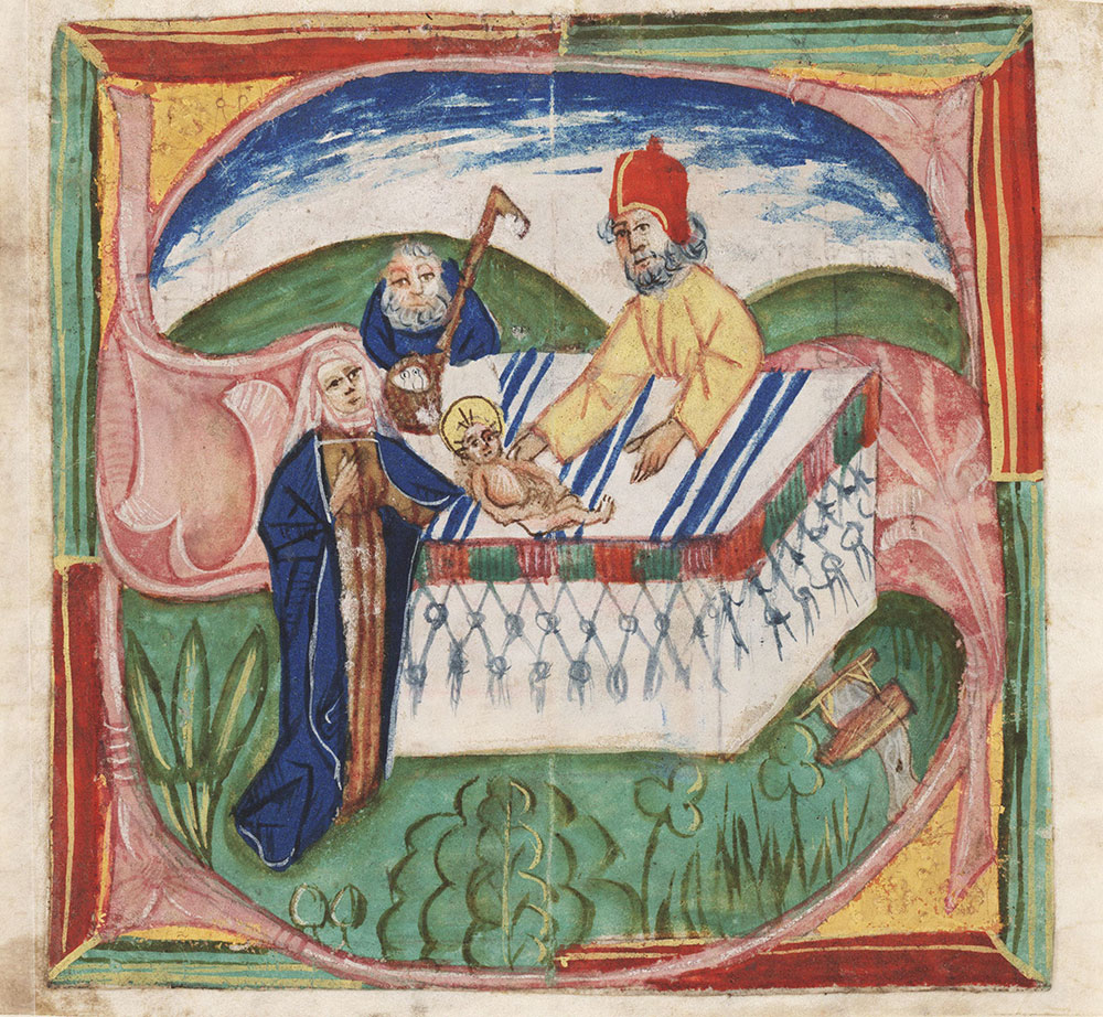 Historiated initial S depicting the Presentation in the Temple
