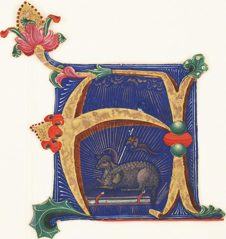 Historiated initial A depicting the Agnus Dei