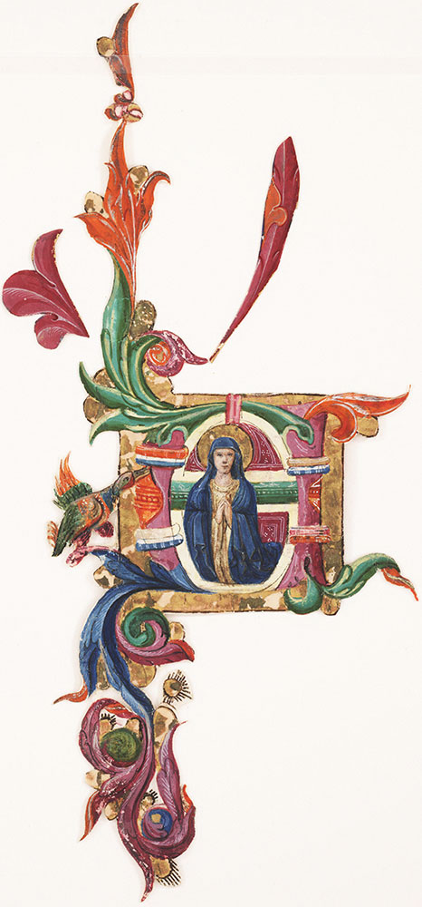 Historiated initial depicting Virgin Mary