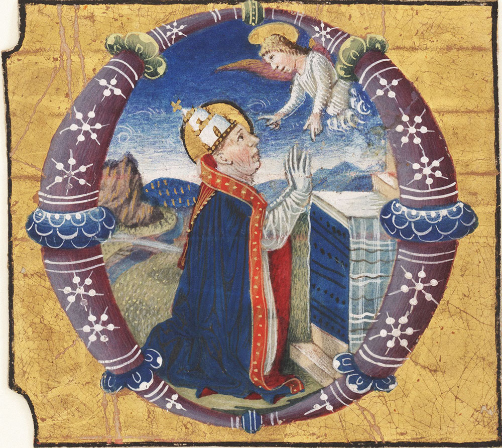 Historiated initial O with a pope kneeling at an altar, communing with an angel