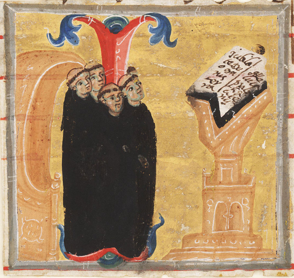 Miniature of monks reading from a lectern