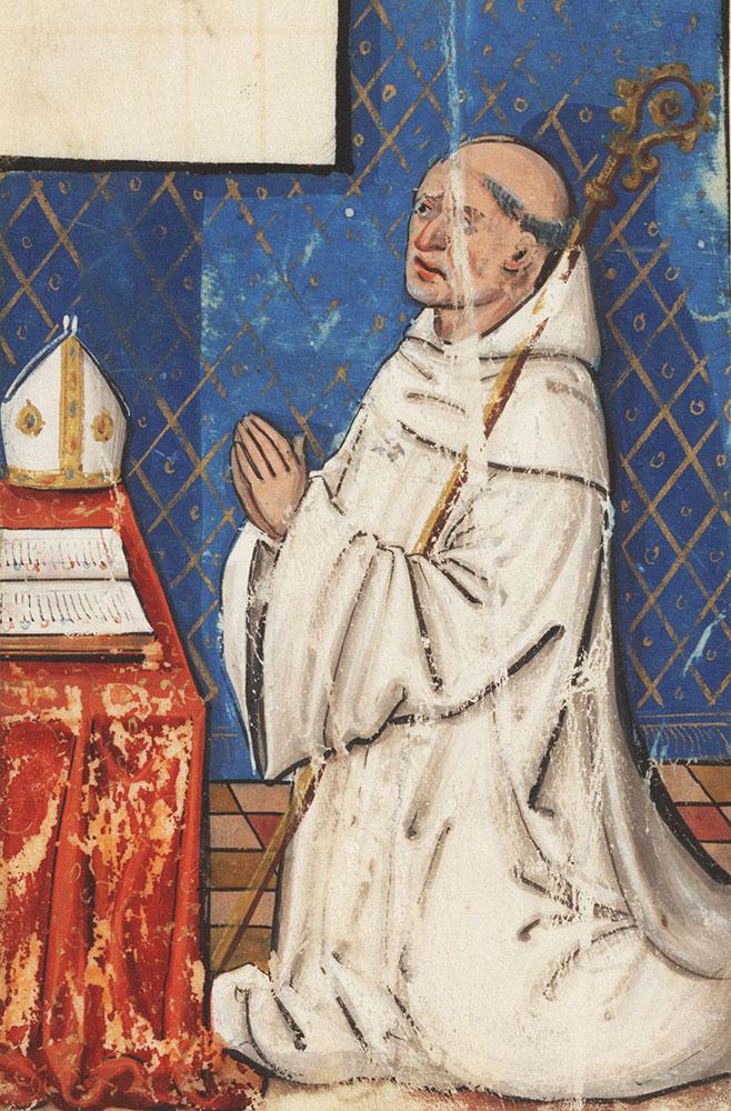 [Bishop kneeling in prayer]