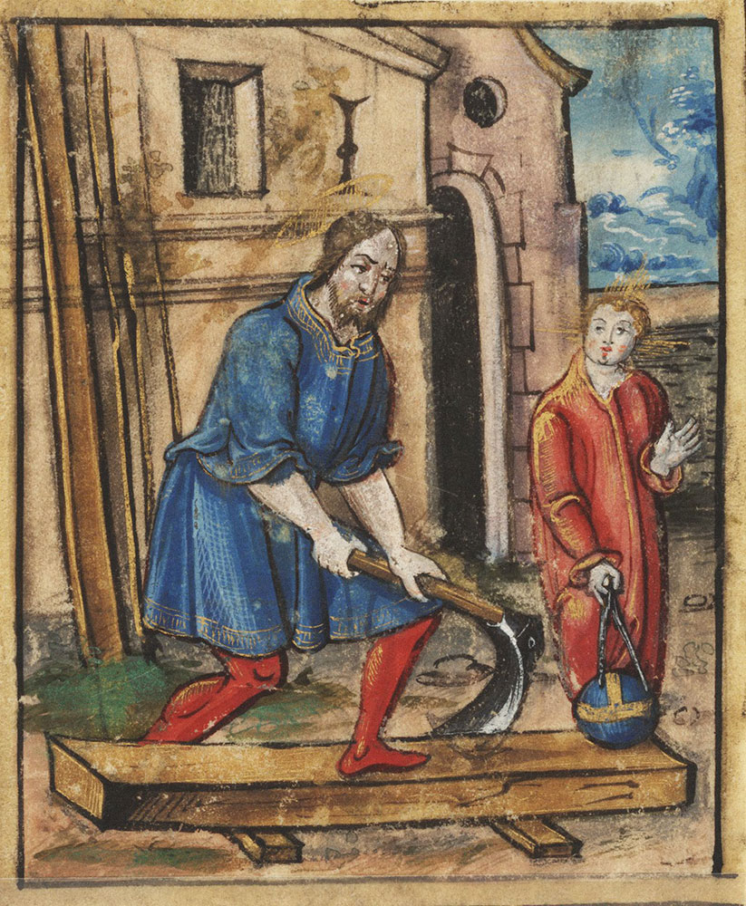 [Jesus learning to be a carpenter?]