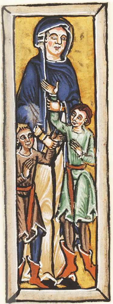 Initial I with Naomi and her two sons, beginning the Book of Ruth