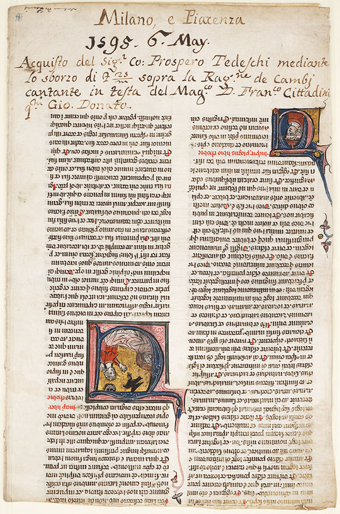 Initial U, with Tobit blinded by a sparrow's droppings, beginning the Book of Tobit