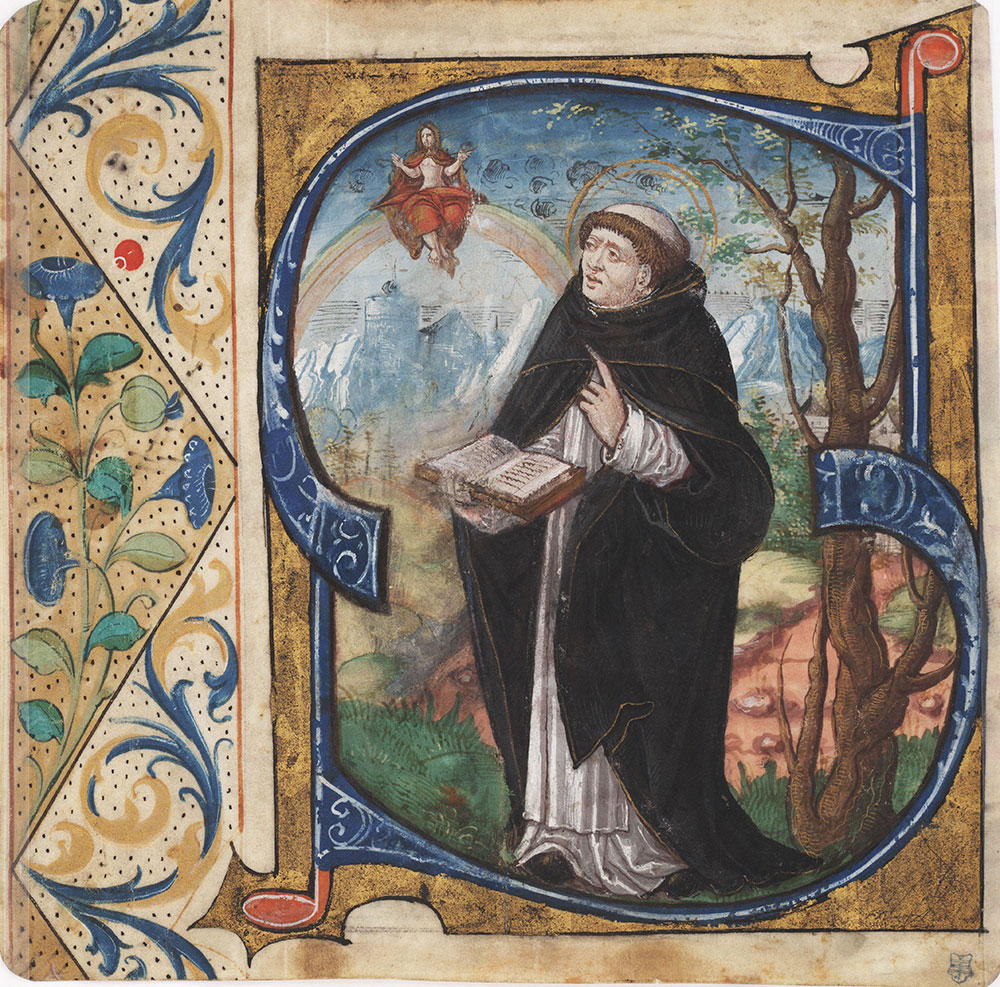 Initial S with St. Vincent Ferrer