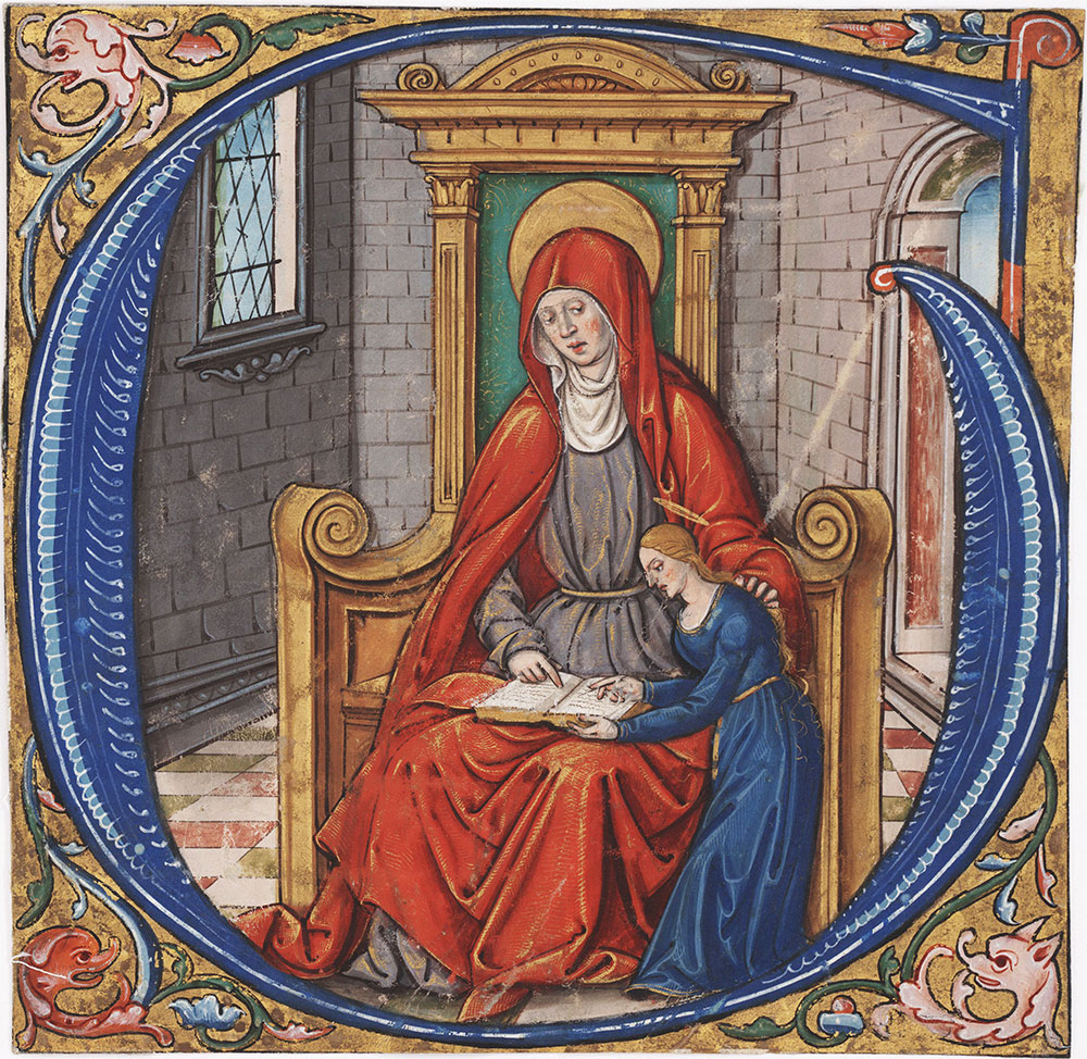 Initial G with St. Anne teaching the Virgin Mary