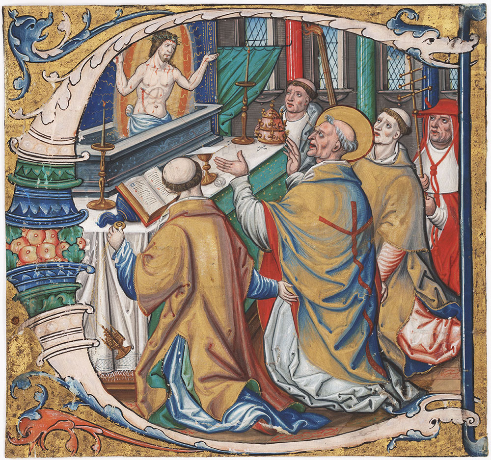 Initial C with the Mass of St. Gregory the Great