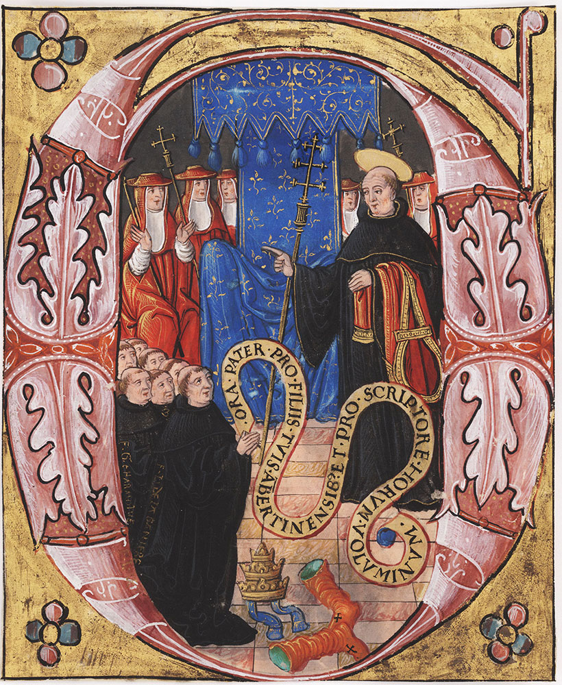 Initial G with St. Gregory I (?) appearing to a group of Benedictine Monks