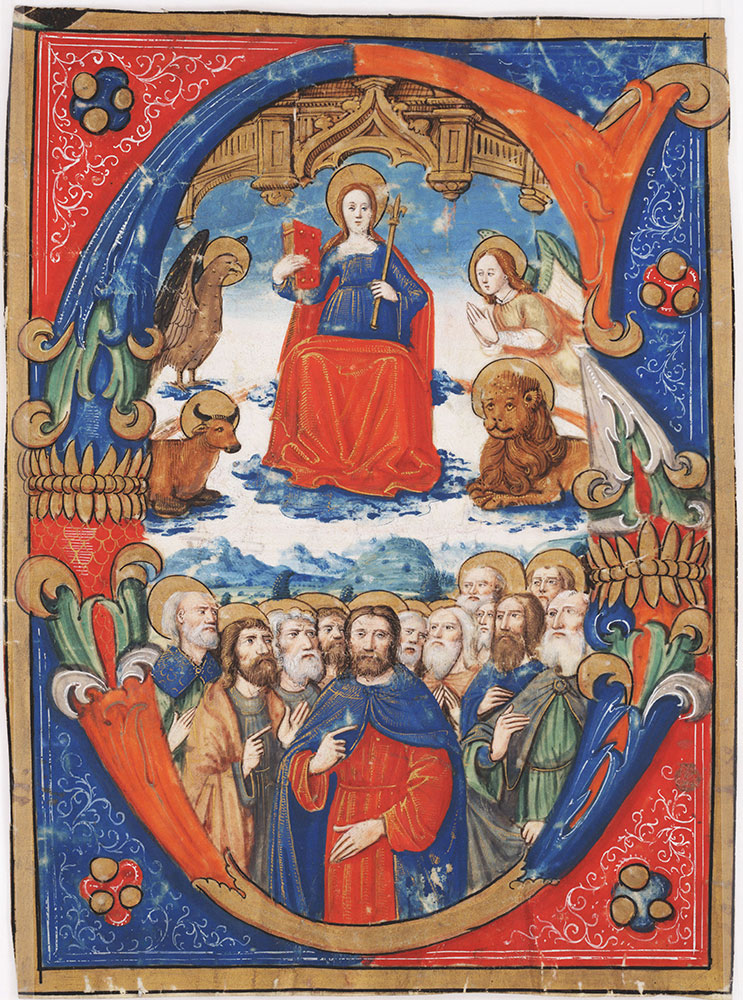 Initial G with the Virgin enthroned and surrounded by the symbols of the four Evangelists and the Apostles below