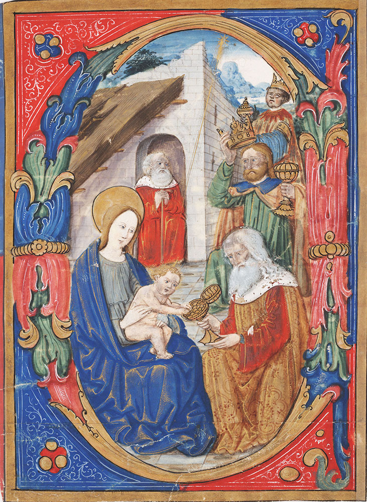 Initial E(?) with the Adoration of the Magi