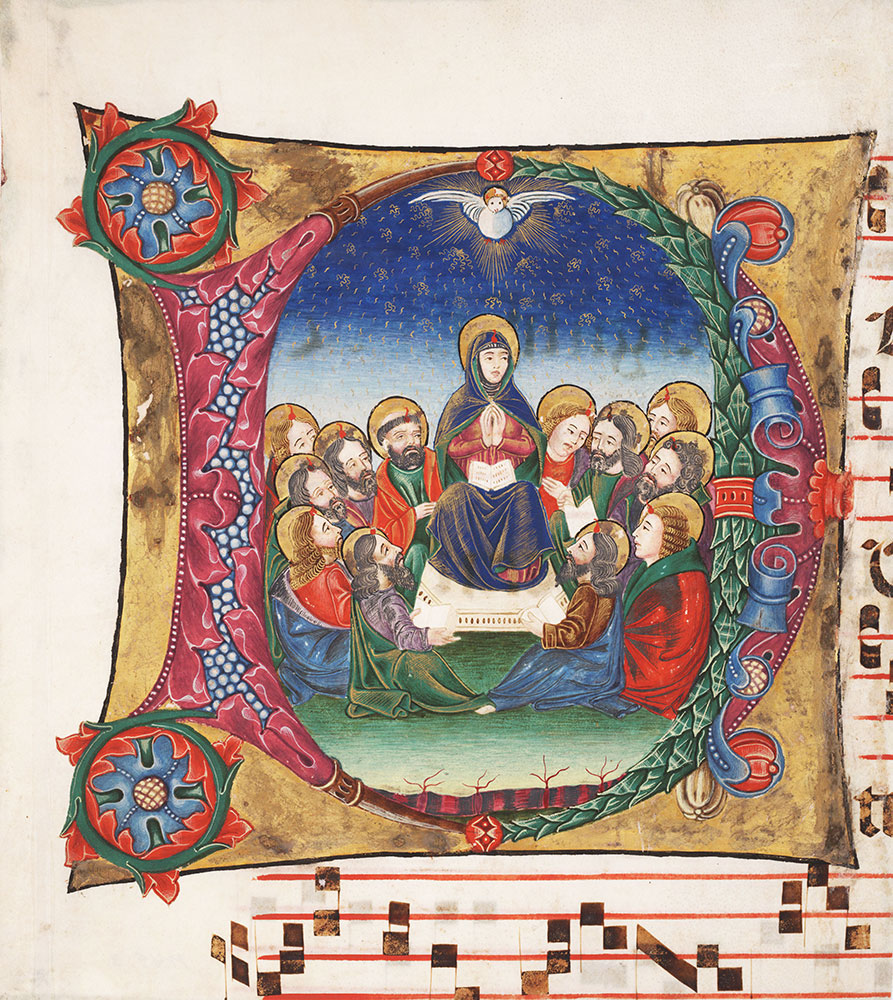 [Illuminated Historiated Initial Music Fragment]