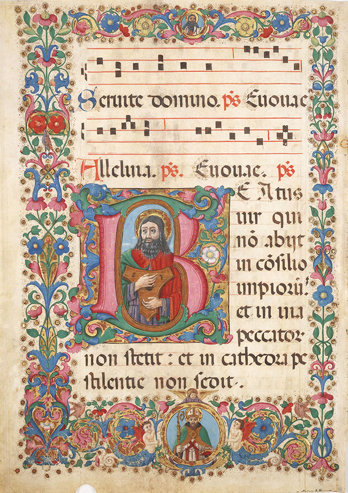 Leaf from an antiphonary with historiated initial B depicting David as musician