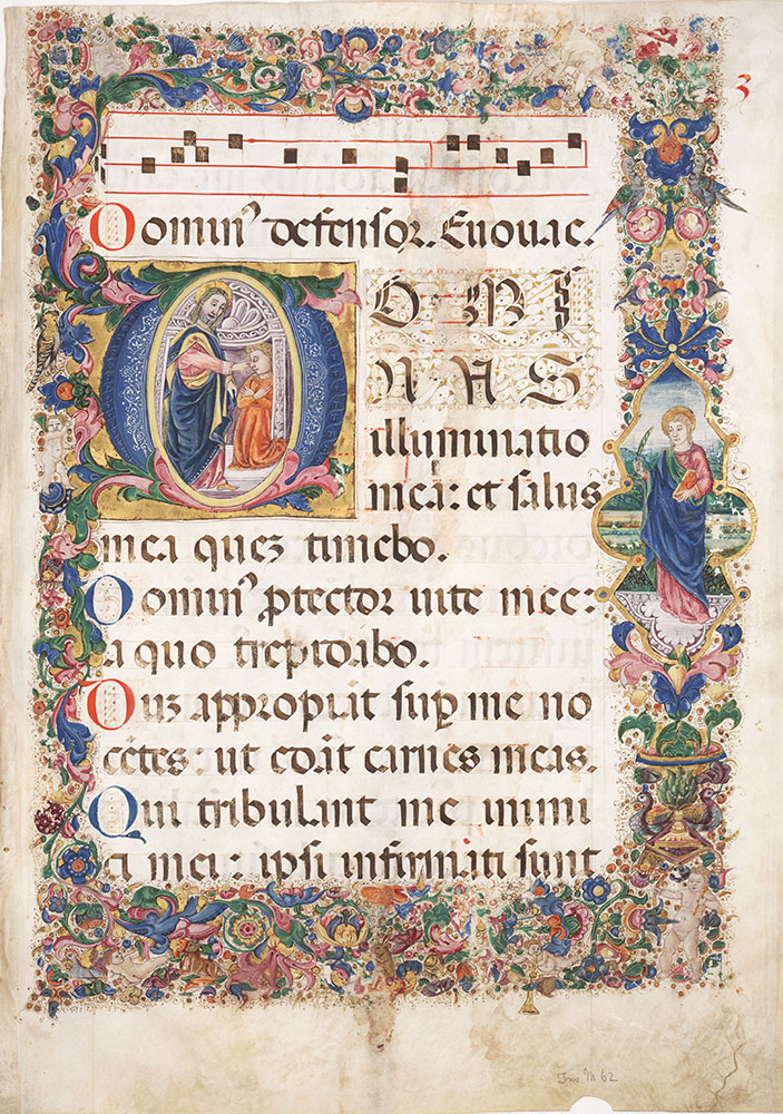 Antiphonal leaf with historiated initial leaf D depicting Christ healing the blind