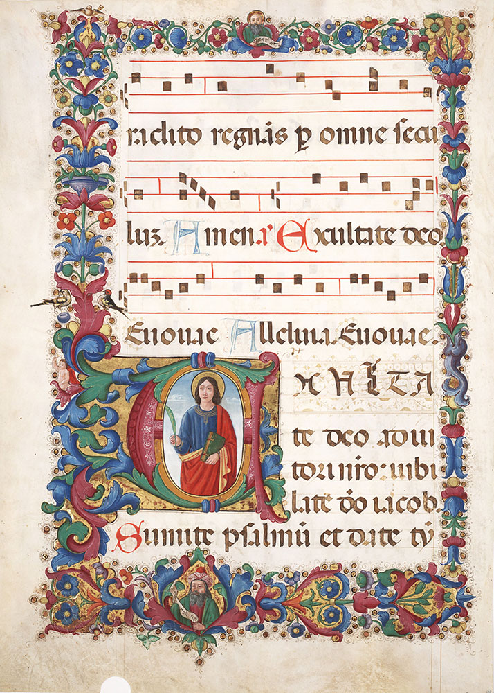 Leaf from an antiphonary with historiated initial E depicting John the Evangelist