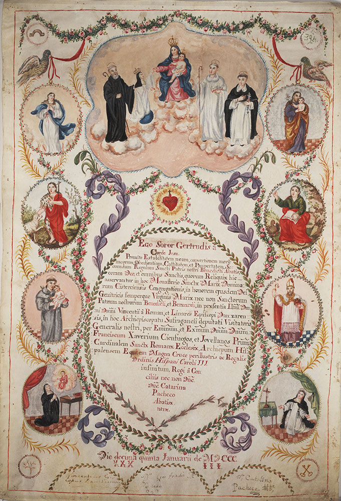 Vow of stability taken by Gertrudis Maria on entering the Cistercian convent of Santa Maria