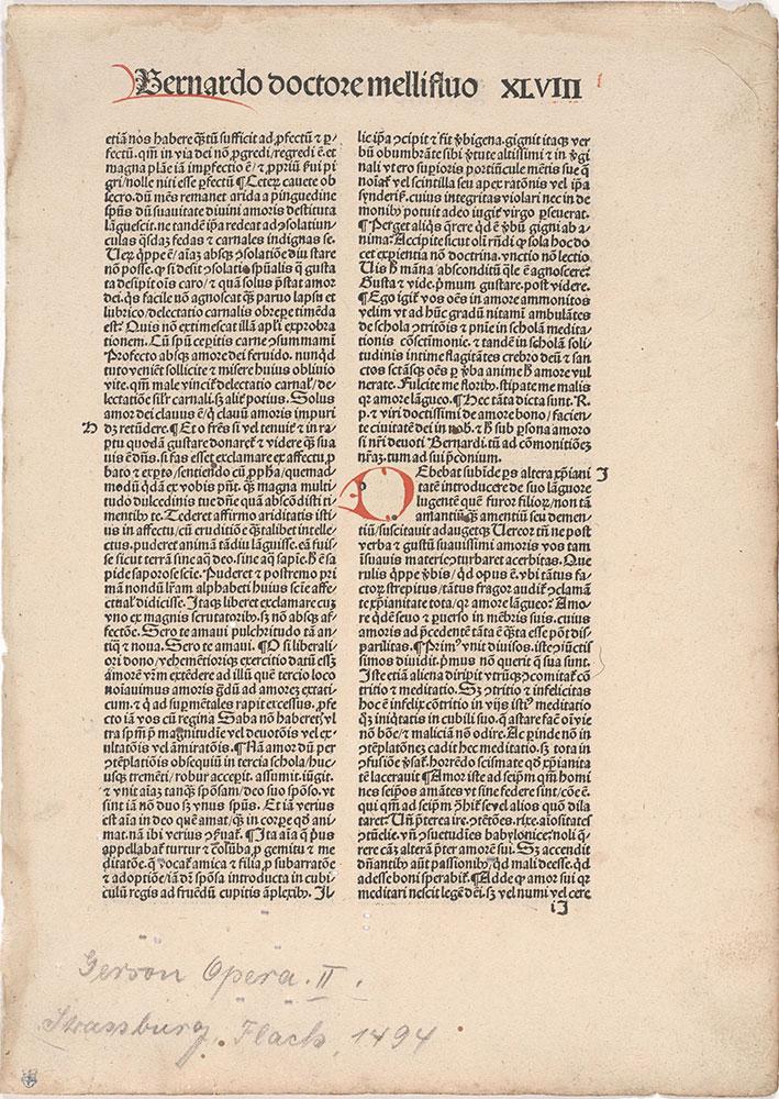 [John Gerson, Sermon of Saint Bernard, Incunabulum printed at Strasbourg by Flack, 1494]