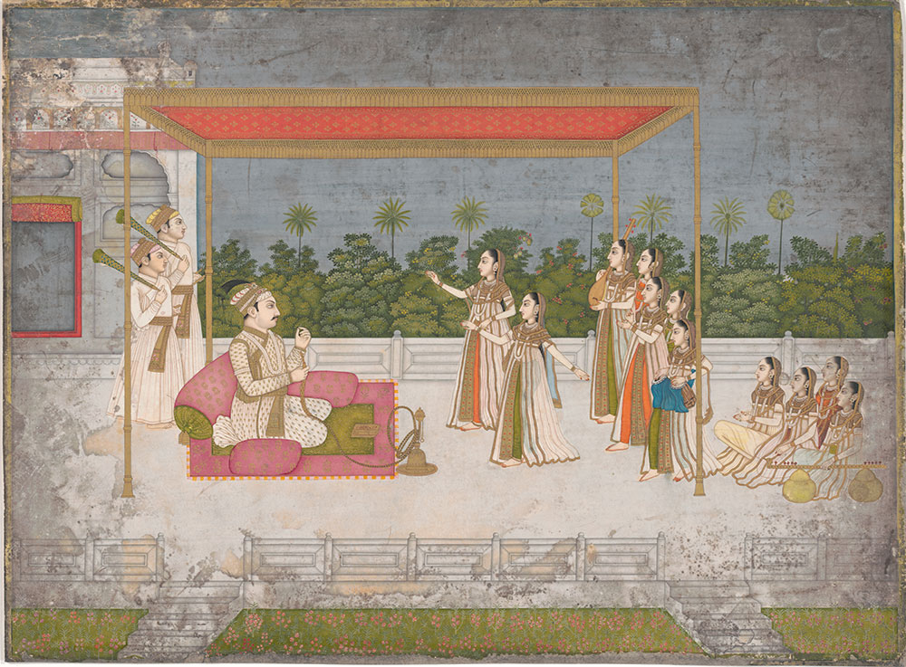 Painting of Mughal Emperor on his terrace