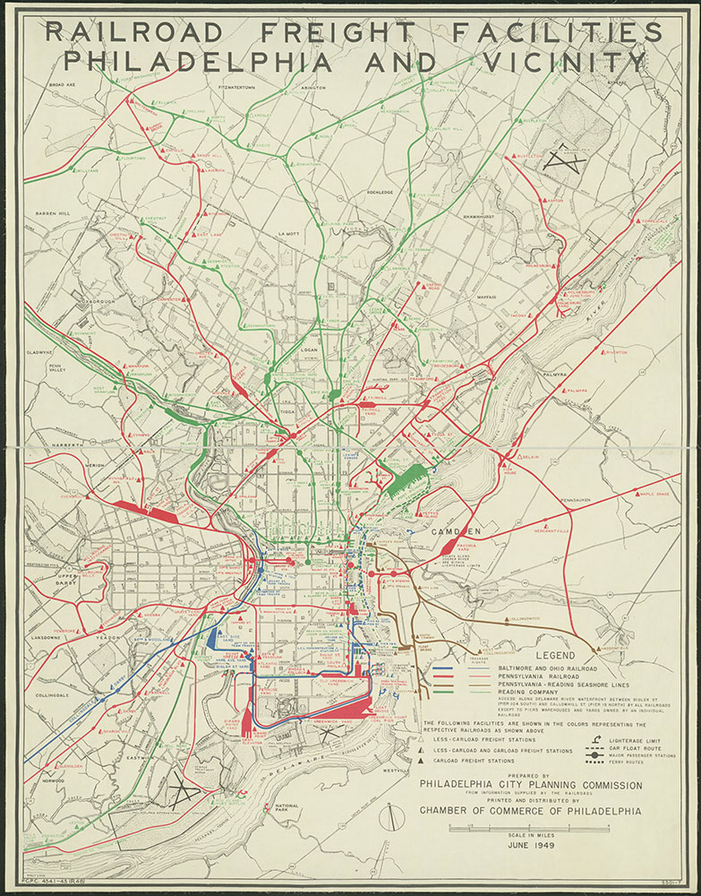 Railroad Freight Facilities, Philadelphia and Vicinity, 1949, Map
