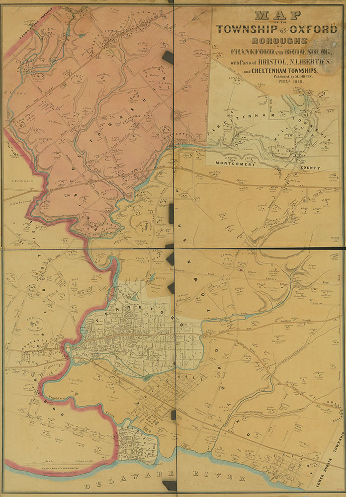 Map of the Township of Oxford, Boroughs of Frankford & Bridesburg with parts of Bristol, N. Liberties and Cheltenham Townships, 1849, Map