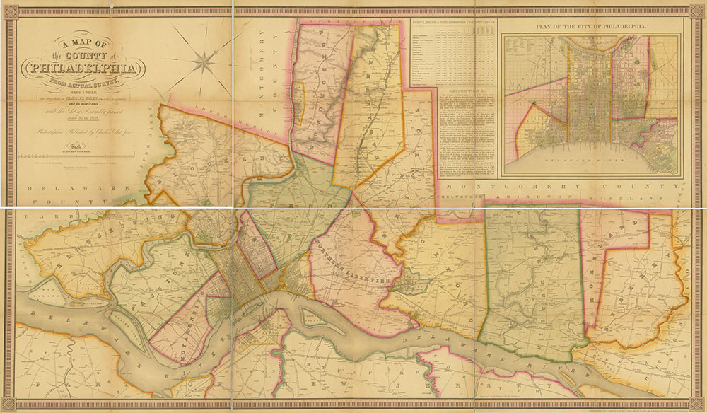 A Map of the County of Philadelphia from Actual Survey, 1843, Map