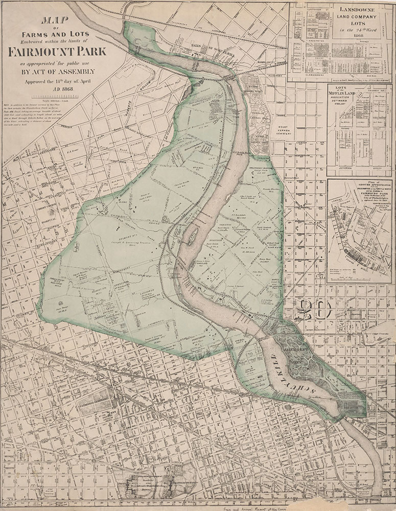 Maps of Farms and Lots Embraced Within the Limits of Fairmount Park, 1868, Map