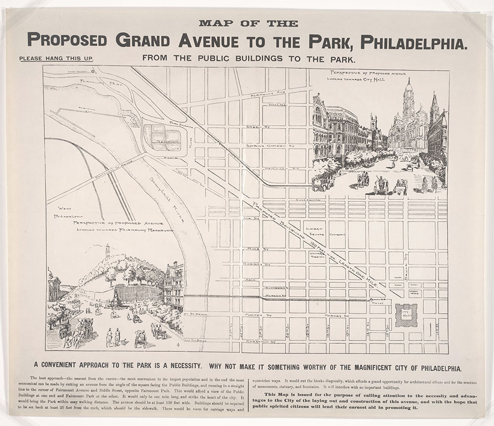 Map of the Grand Avenue to the Park, Philadelphia, 1889, map