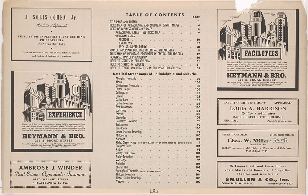 Franklin's Street and Business Occupancy Atlas of Philadelphia & Suburbs, 1946, Contents